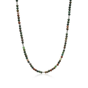 Nialaya Men's Beaded Necklace with Oriental Jasper and Sterling Silver Tube Beads | MNEC_129
