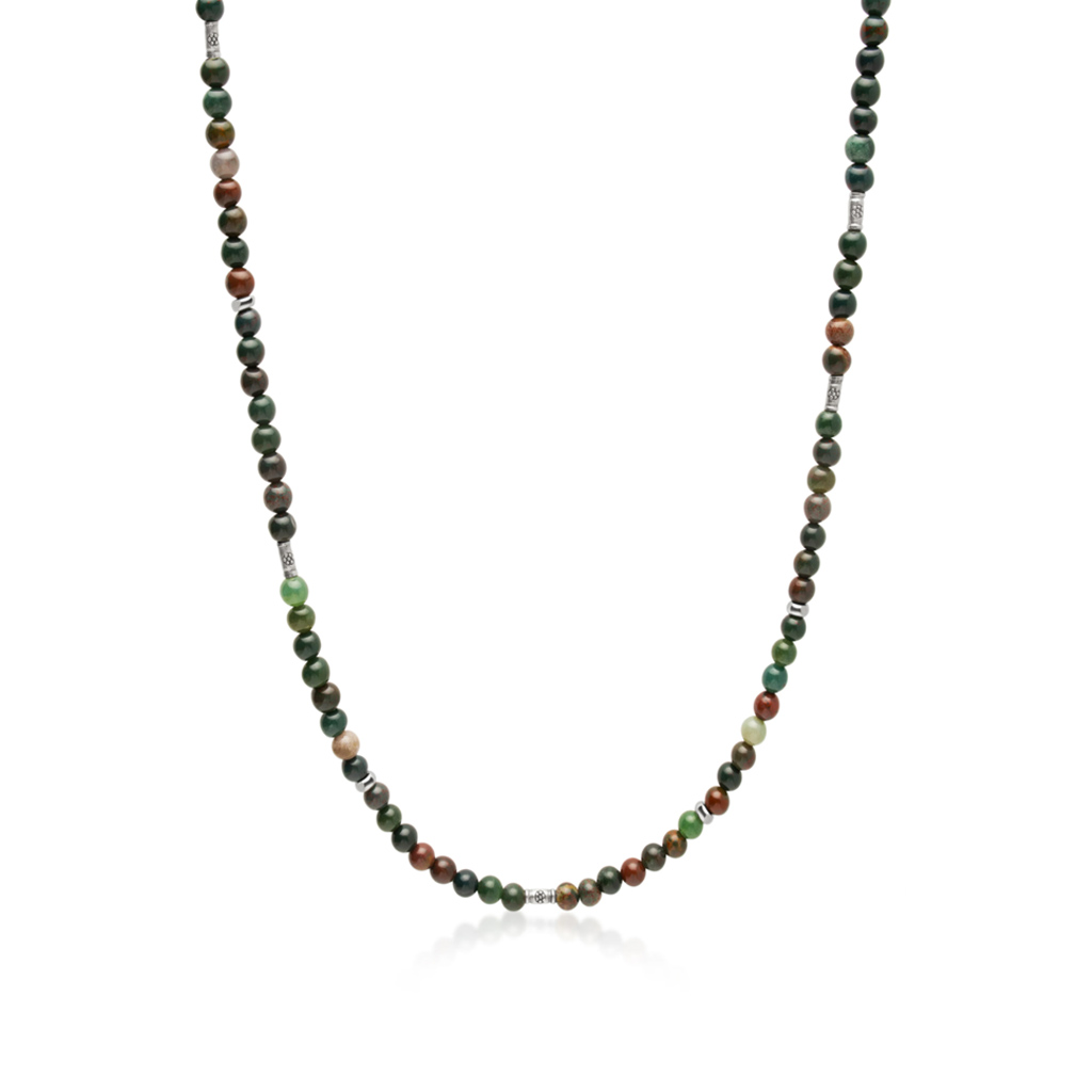 Nialaya Men's Beaded Necklace with Oriental Jasper and Sterling Silver Tube Beads