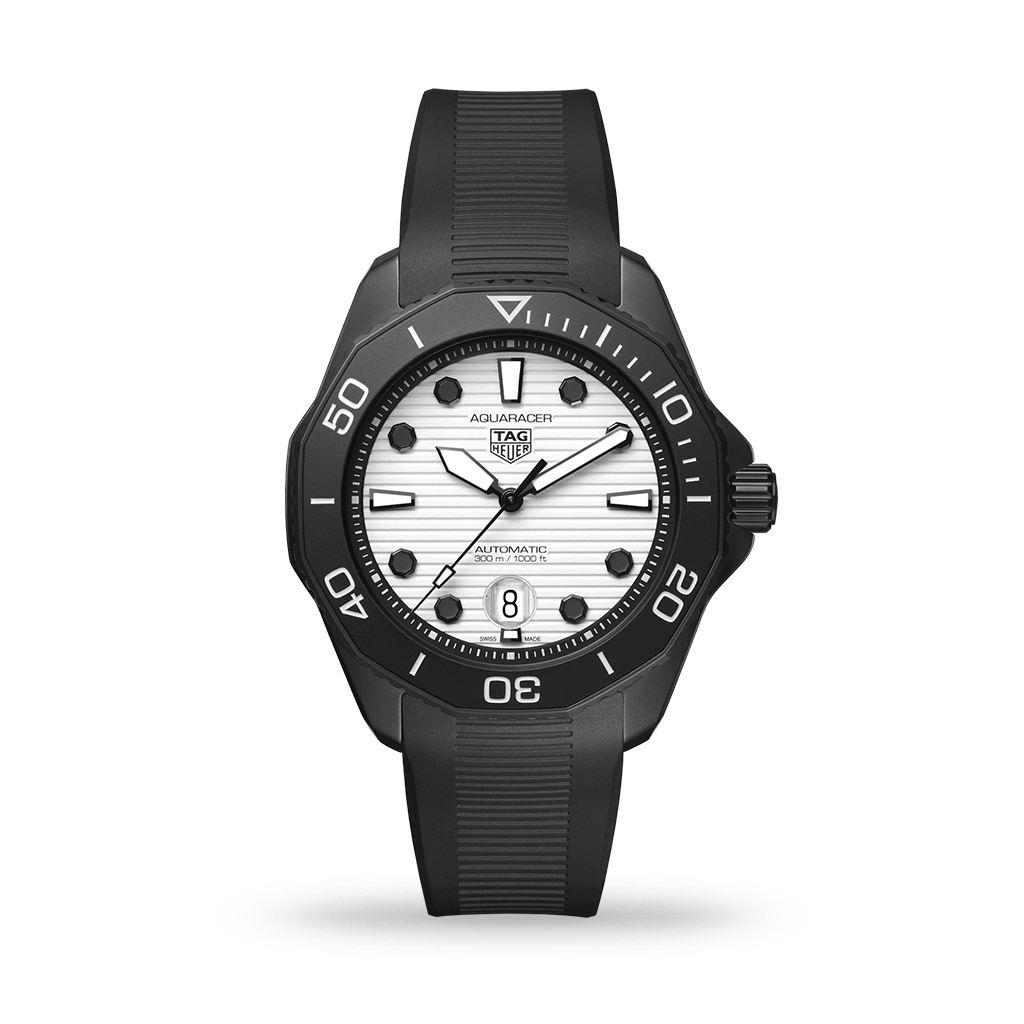 TAG Heuer Aquaracer Professional 300 Automatic White Dial 43mm Rubber Strap