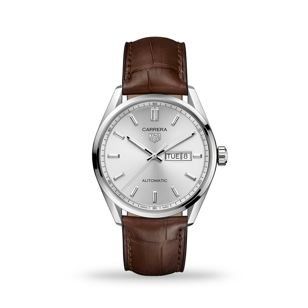 TAG Heuer Carrera Automatic Silver Dial 41mm Leather Strap